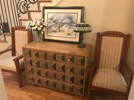 Mainland-Smith Leather Wrap Chest of Drawers with Tifffany Style Lamp, signed art, custom made arm chair built with matieral from an old church pew.