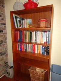 BOOKS AND WOOD BOOK SHELF