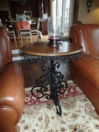 Round Metal & wood side table
