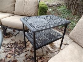 Like New- Hanamint  patio table -  Purchased 1 yr old from Great Escape - Side table top opens so a wine cooler and be inserted.
