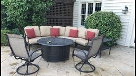 Like New Hanamint  patio set w, cushions, side table and table/gas  fire pit - Chairs can be separated in 1, 2 or 3 parts. Side table top has an opening to insert a wine cooler . Purchased 1 yr ago from Great Escape