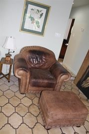 furniture leather armchair and ottoman