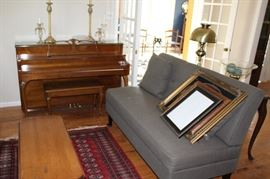 furniture MCM loveseat and piano