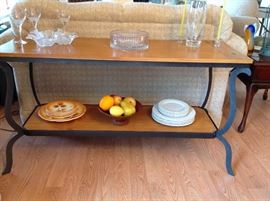 Wrought Iron & Wood Sofa Table