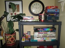 Living Room: Games-Monopoly-Sorry-Pay Day, Clock, Plant Stand, Plant, Cranium,