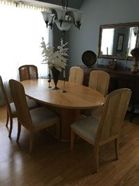 "Oval Dining Table w/6 Chairs, 44'x76""+18"" Leaf"