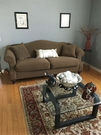 "Upholstered Sofa 84"" & Modern Coffee Table"
