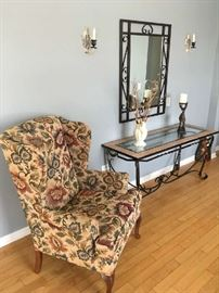 2 of 2 Matching Upholstered Chairs & Glass/Tile Top Iron Console Table 55'x21'x27""