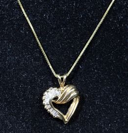 """14k Gold Necklace and Earring Set, 14k Heart Pendants with Baguette Diamonds, 18"""" Chain"""
