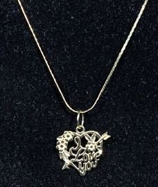 """14k Gold Chain with 14k """"I Love You"""" Heart Shaped Pendant, 1.7 Total Grams, 18"""" Chain"""