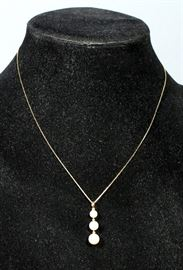 """14k Gold Chain with Pearl 3 Drop Pendant, 18"""" Chain"""