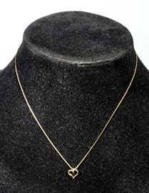 """14k Gold Chain with 14k Heart Pendant, 1.1 Total Grams, 16"""" Chain"""
