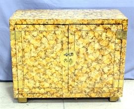 """1970'S Henredon Faux Tortoiseshell Asian-Inspired Cabinet with Brass Hardware, 39""""W x 31""""H x 18""""D"""
