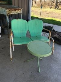 Vintage glider and table.