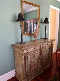 Hooker Seven Seas occasional cabinet, buffet lamps, wall mirror, decor