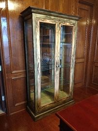 Lexington wood and glass display cabinet