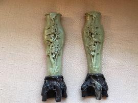 Carved soapstone vases