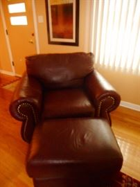 Crate Barrel Leather Arm Chair Studded Rim, Rolled Arms, with Ottoman. Purchased 2004