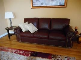Crate Barrel Chocolate Brown Leather Sofa, Studded Trim. Purchased 2004
