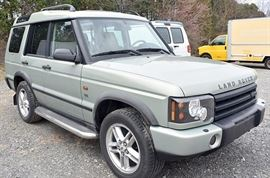 At 8PM: 2003 Land Rover Discovery SUV with 62,534 Miles; Green Exterior with Cream/Tan Leather Interior; Power Everything!; Power Moonroof; Heated Seats; Dual Climate Controls; AM/FM Stereo with CD and Cassette, and much more. VIN: SALTY164X3A796544