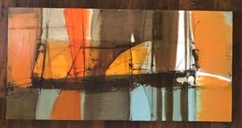 Midcentury original oil on board abstract