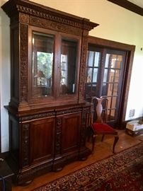 1840's heavily carved walnut cabinet