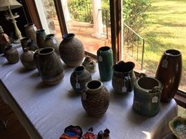 collection of signed Charles Counts Pottery