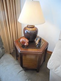 Octagon Occasional Table, Chocolate Brown Ginger Jar Table Lamp