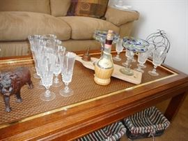 Cocktail Table with Caned Top, Trim Gold Plate. Baskets, Crystal Wine Stem Ware