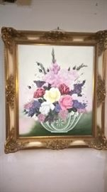 Oil on canvas, great frame, many other pieces of fine art and mirrors to be offered.