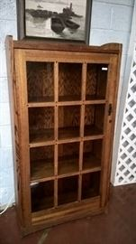 Mission style quality bookcase with a good art deco look, other cabinets and curios to be offered.