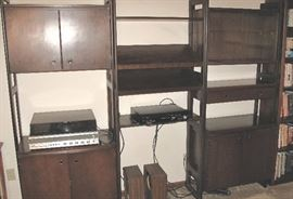 Triple section wall unit. 60s/70s. Panasonic stereo with turntable.