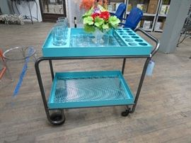 1950's Vintage Serving Cart --Restored in powder coated turquoise finish
