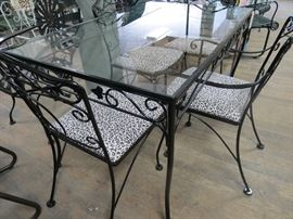 Salterini Wrought Iron Dining set w/ rect. glass top table & 4 chairs w/ leopard cushions