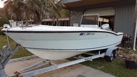 22 ft Seabird Center Console with tandem axel trailer and brakes