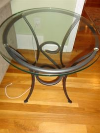 WROUGHT IRON BASE TABLE WITH GLASS TOP