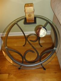 ANOTHER END TABLE WROUGHT IRON WITH GLASS TOP