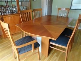 """House of Denmark teak dining table with 4 side chairs & 2 arm chairs   6' X 42 1/2"""" with a 17 1/2"""" leaf"""
