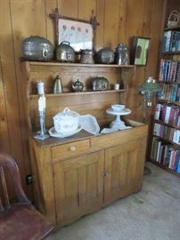 Antique Oak Dry Sink, Ironstone Bowls and Cake Pedestal, Antique Copper Items
