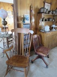 Rocker, and 1 of Several Antique Office Chairs