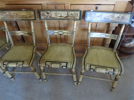 3 of Six Antique Chairs, each scene across is different, hand painted Great Condition and RARE to find 6 Matching
