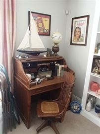Roll top desk, chair, sail boat, collectibles