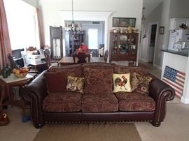 Leather/cloth sofa