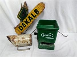 Seed Scooper, Seed Spreader, and DEKALB Corn Sign (3 Pieces)       https://www.ctbids.com/#!/description/share/13235