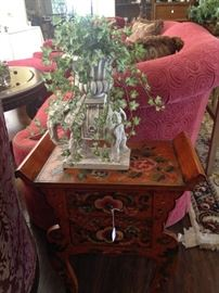 Large sofa; small painted 2-drawer table; elephant planter