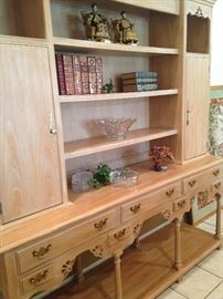 Fabulous light colored wood display breakfront