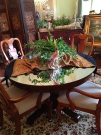 Antique oak table with mirrored top; 4 chairs