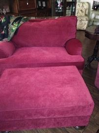 Over-sized chair and ottoman