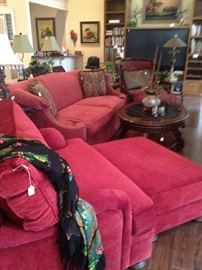 Over-sized chair and ottoman; curved sides sofa