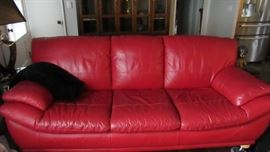 Red Leather Sofa and matching loveseat